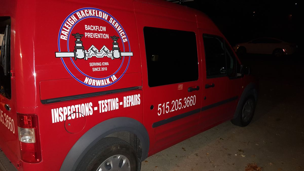 Raleigh Backflow Service Vehicle with Custom Signage by Vision Signs