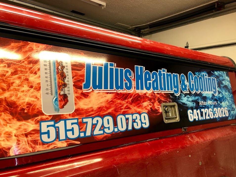 Julius Heating and Cooling sign on vehicle